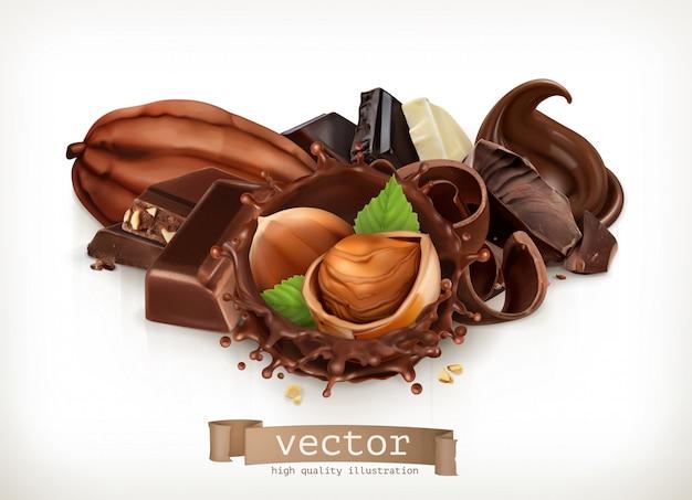 Batony i kawałki czekolady. splash z orzechów laskowych i czekolady. realistyczna ilustracja. ikona 3d