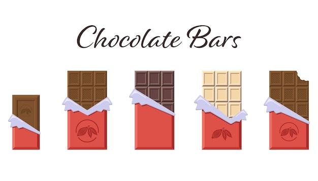 Batony w otwartym czerwonym opakowaniu i folii. płaska kolekcja batoników mlecznych, ciemnych i białych kakao na logo, menu, godło, www, naklejki, nadruki. wektor premium