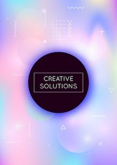 Bauhaus tło z płynnymi kształtami. dynamiczny płyn holograficzny z elementami gradientu memphis. szablon graficzny ulotki, interfejsu użytkownika, magazynu, plakatu, banera i aplikacji. fluorescencyjne tło bauhaus.