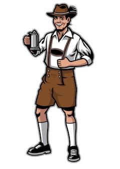 Bawarscy mężczyźni i tradycyjny kufel do piwa