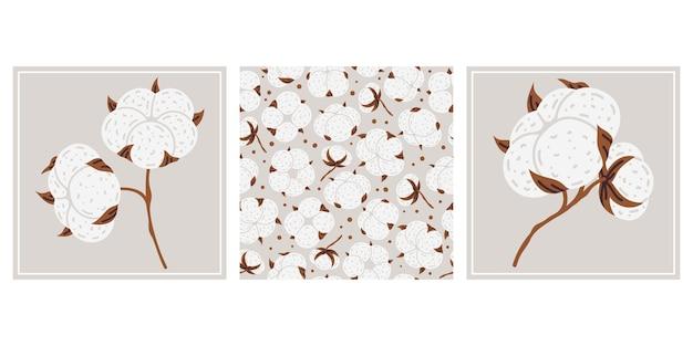 Bawełna biały kwiat roślina doodle plakaty wektor zestaw ilustracji