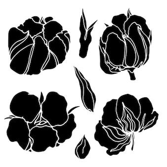 Bawełna sylwetka na białym tle kolekcja logo zestaw elementów dekoracyjnych