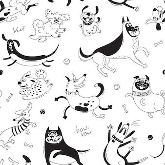 Bawiące się psy wzór. śmieszny pies, szczęśliwy mops, kundle i inne rasy.