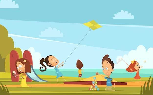 Bawić się dziecko kreskówki tło z plenerową lato aktywność symboli / lów wektoru ilustracją