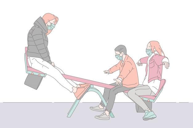 Bawić się seesaw z rodziną, pojęcie ilustracja