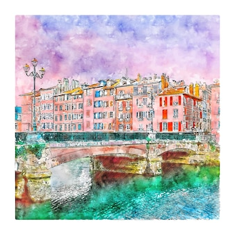 Bayonne francja szkic akwarela ręcznie rysowane ilustracji