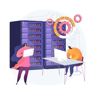 Baza danych, cyfrowe przechowywanie i organizacja informacji. postać z kreskówki pracownika pomocy technicznej. optymalizacja seo, sprzęt komputerowy. ilustracja wektorowa na białym tle koncepcja metafora