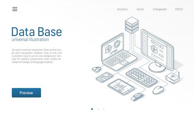 Baza danych, duże zbiory danych, nowoczesna ilustracja linii izometrycznej serwera hosta. centrum danych, ikony szkicu biznesowego centrum ochrony plików. koncepcja sieci przechowywania informacji.