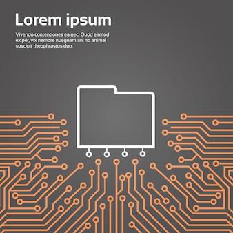 Baza danych nad komputerem chip moterboard tło data center system concept banner