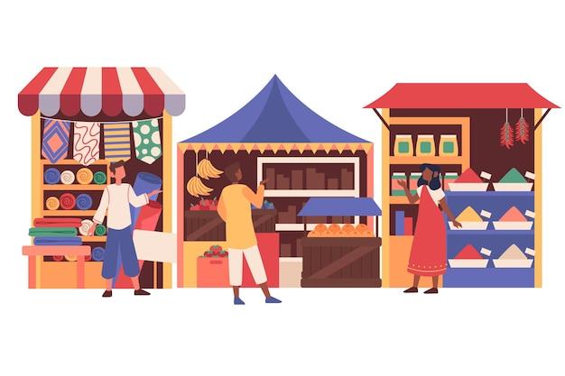 Bazar arabski na białym tle