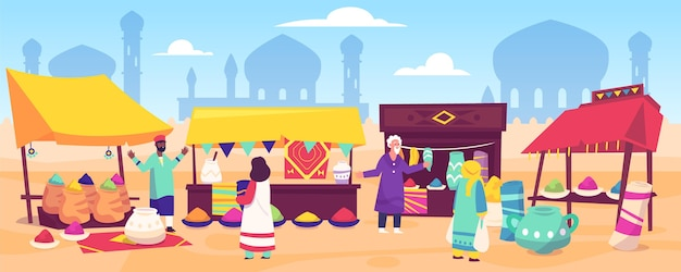 Bazar arabski o płaskiej konstrukcji