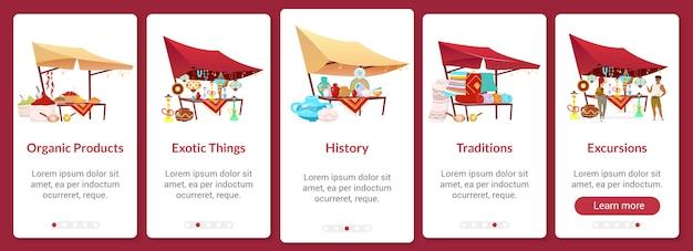 Bazar onboarding aplikacji mobilnej ekran płaski szablon. tradycyjny azjatycki rynek, targi uliczne. przewodnik po witrynie z pojedynczymi postaciami na białym. interfejs rysunkowy smartfona ux, ui