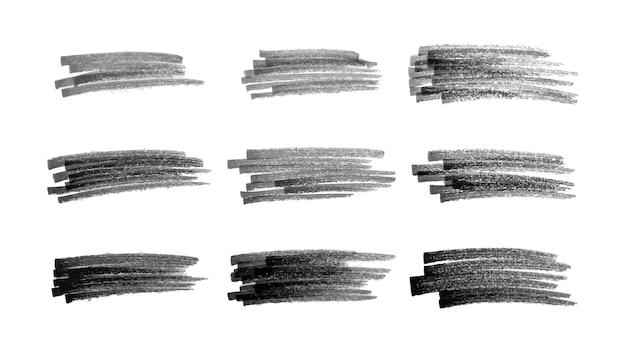 Bazgroły czarnym markerem. zestaw dziewięciu doodle stylu różnych bazgrołów. czarne ręcznie rysowane elementy projektu na białym tle. ilustracja wektorowa