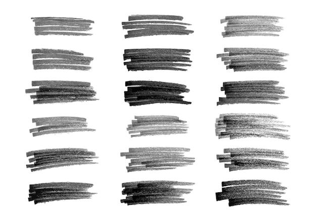 Bazgroły czarnym markerem. zestaw osiemnastu doodle stylu różnych bazgrołów. czarne ręcznie rysowane elementy projektu na białym tle. ilustracja wektorowa