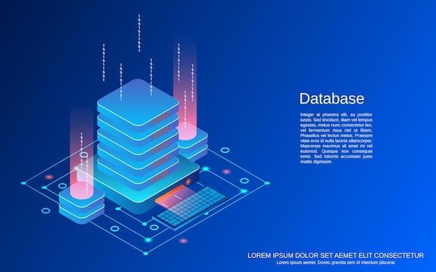 Bazy danych płaski 3d izometryczny ilustracja koncepcja wektorowa