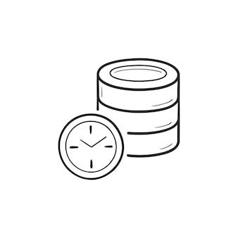Bazy danych z zegarem ręcznie rysowane konspektu doodle ikona. termin, harmonogram, koncepcja planowania bazy danych. szkic ilustracji wektorowych do druku, sieci web, mobile i infografiki na białym tle.
