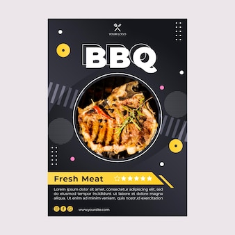 Bbq najlepszy szablon ulotki restauracji fast food