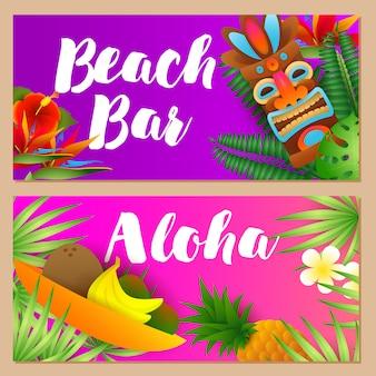 Beach bar, zestaw napisów aloha, owoce tropikalne, maska plemienna