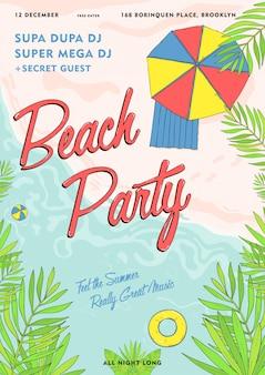 Beach party tropikalny plakat kolorowy. letnie wydarzenie, festiwal wektor ilustracja afisz.