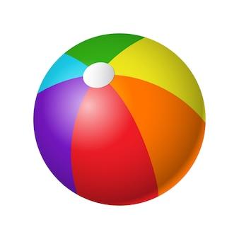 Beachball - nowoczesny wektor realistyczny na białym tle obiekt na białym tle. kolorowy sprzęt do siatkówki plażowej. gra, koncepcja sportu. użyj tej wysokiej jakości grafiki do prezentacji, banerów, ulotek