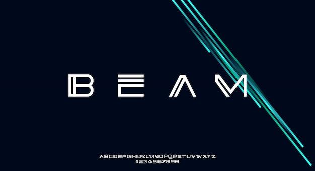 Beam, abstrakcyjna, nowoczesna, minimalistyczna, geometryczna, futurystyczna czcionka alfabetu.