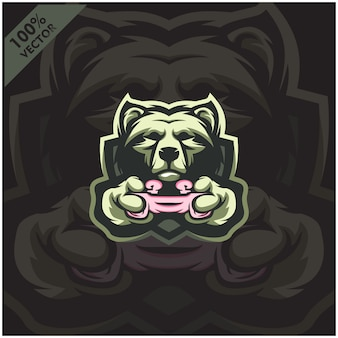Bear gamer z joystickiem. projektowanie logo maskotki dla zespołu e-sportowego.
