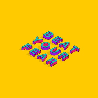 Beat your fear 3d izometryczne czcionki motywacyjne cytaty pop art typografia napis wektor