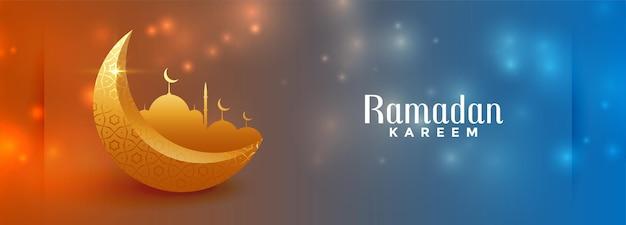 Beautidul ramadan kareem błyszczący kolorowy projekt transparentu