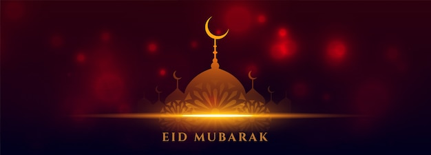 Beautifil festiwal eid islamski sztandar z świecącym meczetem