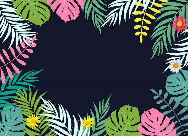 Beautifil palma drzewa liści sylwetka tło wektor ilustracja