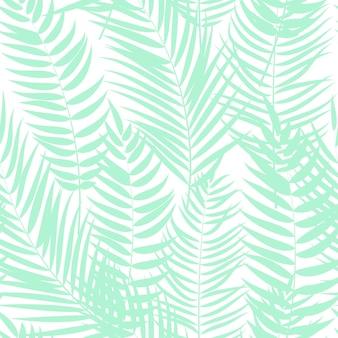 Beautifil palmy liścia sylwetki bezszwowy deseniowy tło