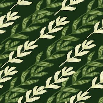 Beautifu streszczenie gałąź lasu z liści wzór. tło wzór liści. tapeta retro natura. do projektowania tkanin, drukowania tekstyliów, pakowania, okładek. ilustracja wektorowa.