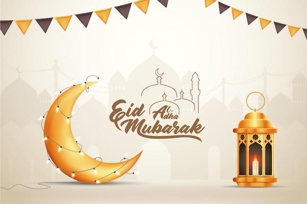 Beautilful eid-al-fitr eid-al-adha eid mubarak pozdrowienia ilustracja tło