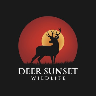Beauty deer buck stag silhouette sunset inspiracją do projektowania logo