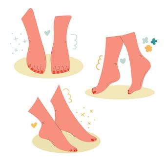 Beauty feet z czerwonym lakierem do paznokci pedicure koncepcja masażu spa stóp ręcznie rysowana ilustracja