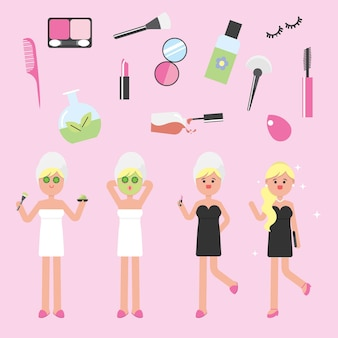 Beauty girls with make up set