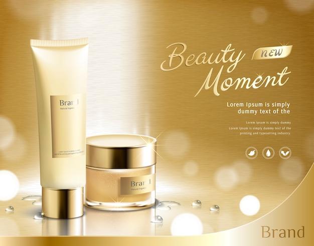 Beauty moment zestaw do pielęgnacji skóry na złotym błyszczącym tle w ilustracji 3d, plastikowa tubka i słoik z kremem