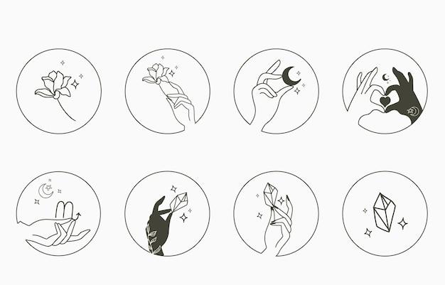 Beauty okultystyczna kolekcja z ręką, geometrią, kryształem, księżycem, kwiatem, gwiazdą.