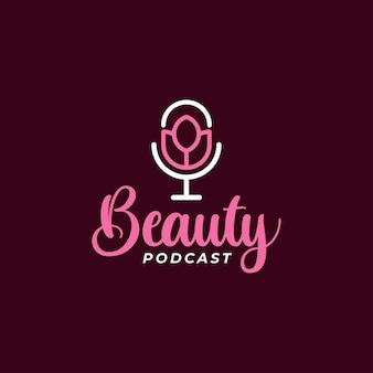 Beauty podcast kreatywne projektowanie logo tulipan
