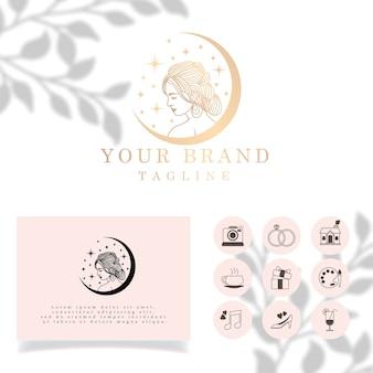 Beauty woman elegant line art logo edytowalny szablon