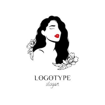Beautyful ręcznie rysowane logotyp kobiety