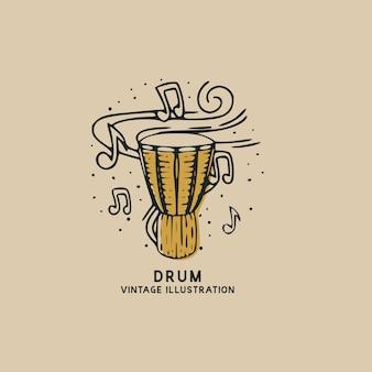 Bęben muzyki instrumentu vintage ilustracji