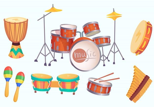 Bębny z kreskówek. muzyczne instrumenty perkusyjne. kolekcja na białym tle instrument muzyczny