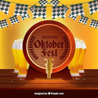 Beczka i szklanki piwa