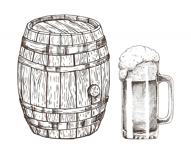 Beczka piwa i szklanka piwa na białym tle