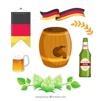 Beczka z innymi elementami festiwalu oktoberfestu