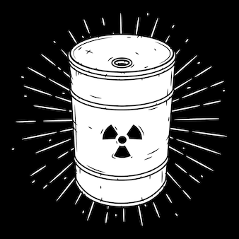 Beczka z odpadami radioaktywnymi. ręcznie rysowane ilustracja z beczki i sunburst.