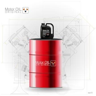 Beczki metalowe, kanister z tworzywa sztucznego na białym tle, ilustracja. ilustracje techniczne.