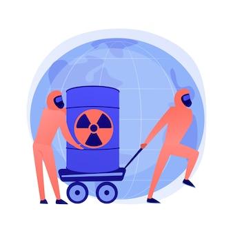 Beczki radioaktywne. ludzie w kombinezonach ochronnych z bronią biologiczną. produkty chemiczne