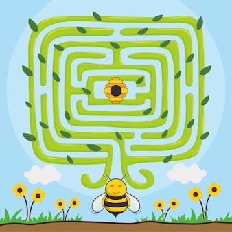 Bee find honey animals maze tree games